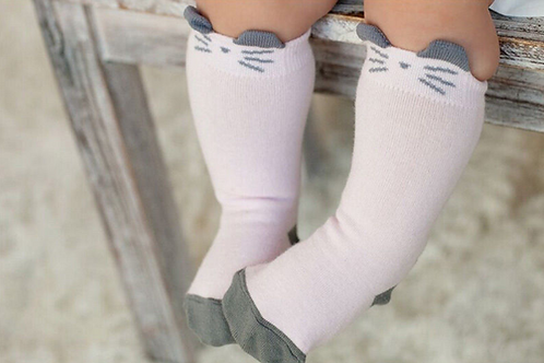 Little Cutie Pink Mouse Knee High Socks