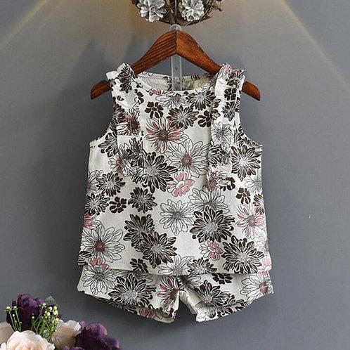 Floral Chic Shorts & Vest Set
