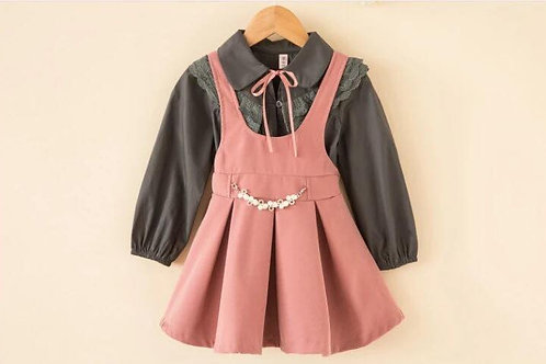 Westridge Grey Frill Blouse & Dusty Pink Suede Pinafore Charm Dress