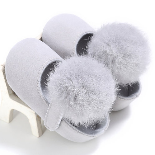 Light Grey Pom Pom Moccasins
