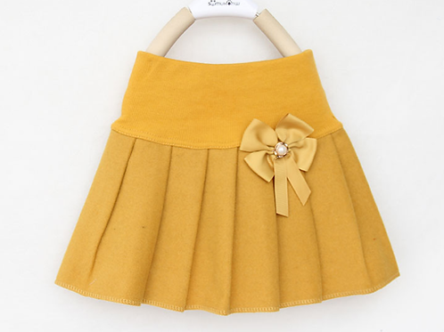 Head of the Class Mustard Wool Blend Pleated Skirt