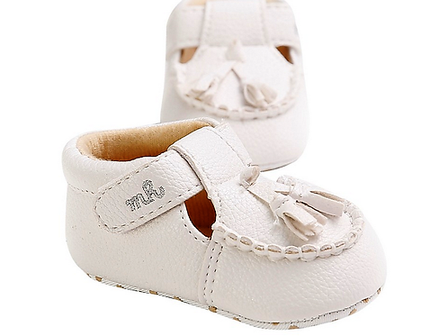 White Leather Tassle Loafers