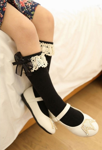 Bébé Belle Black Organza & Cotton Knee High Socks
