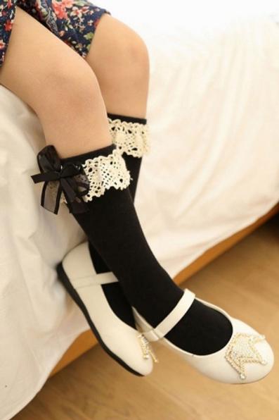 Black Organza & Cotton Knee High Socks