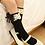Thumbnail: Black Organza & Cotton Knee High Socks