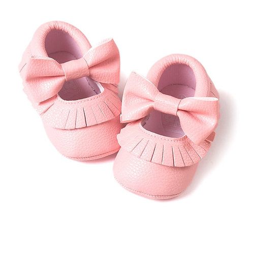 Tassle & Bowknot Baby Pink Leather Crib Shoes