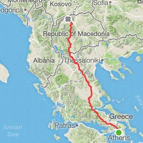 Route Part 1 version 2 - Athens to Kosovo