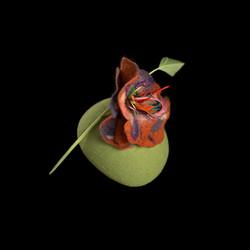 Seafoam Green Orange Flower