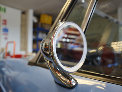 Wing mirror of MGB Classic Car