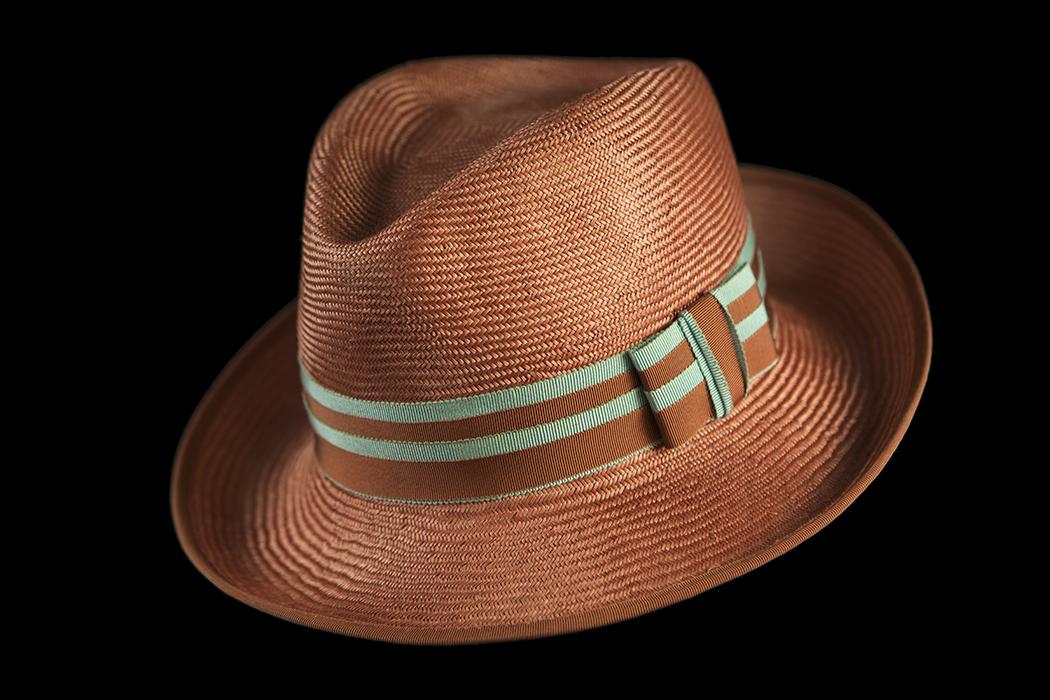 Orange Hat Blue Striped Ribbon