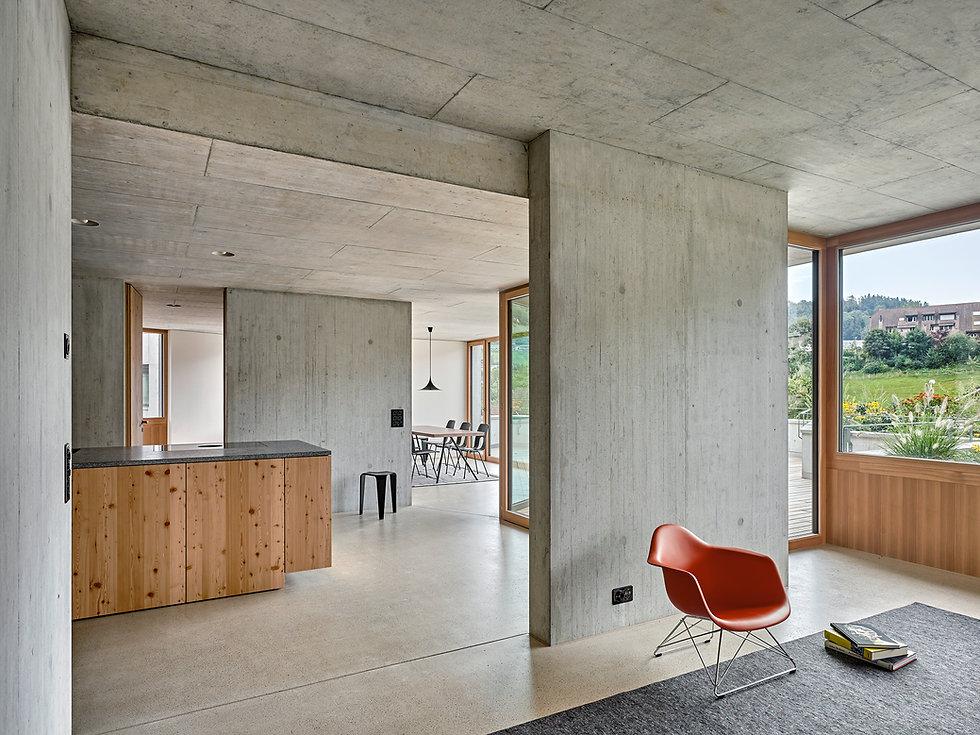 Sommerhalde Uerkheim Wohnzimmer Diethelm & Spillmann Terrassenhaus