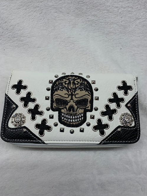Wallet -Sugar Skulls -White