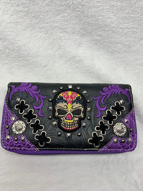 Wallet -Sugar Skulls -Purple