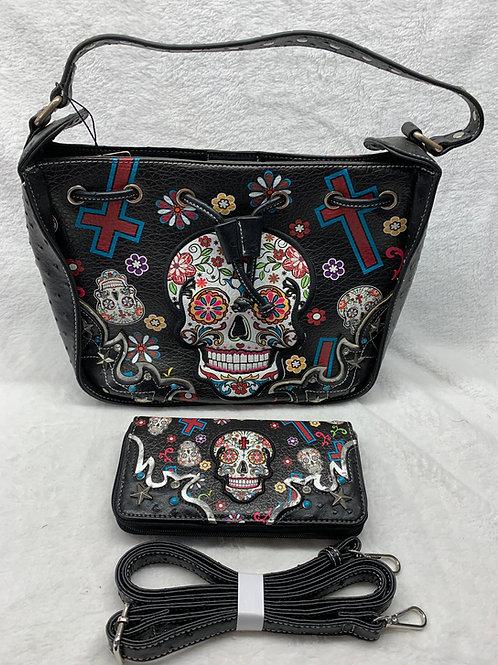 Sugar Skull Shoulder Handbag Black
