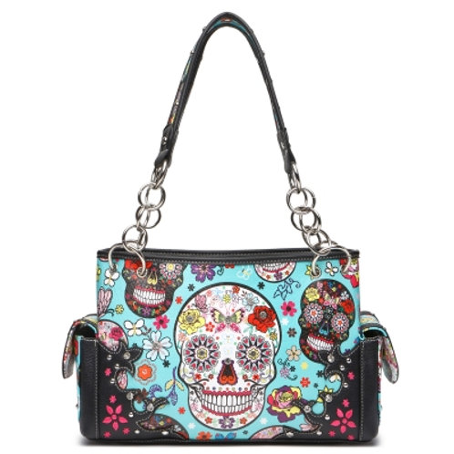 Sugar Skull Shoulder Handbag