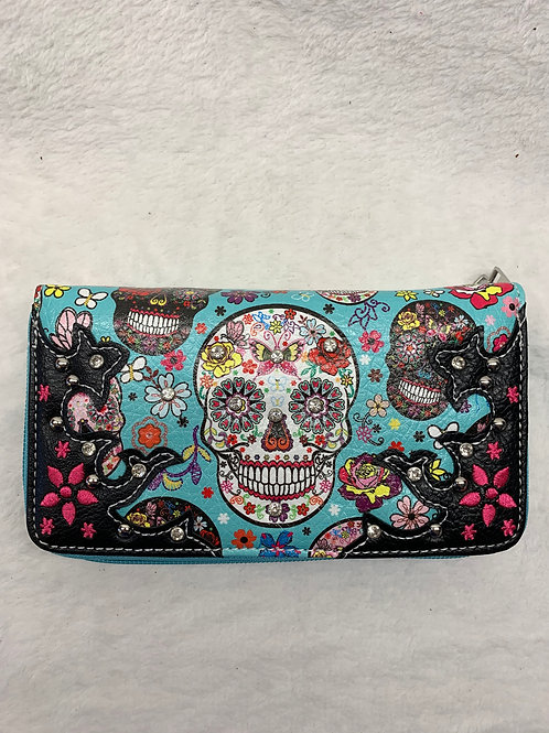 Wallet -Sugar Skulls - Teal