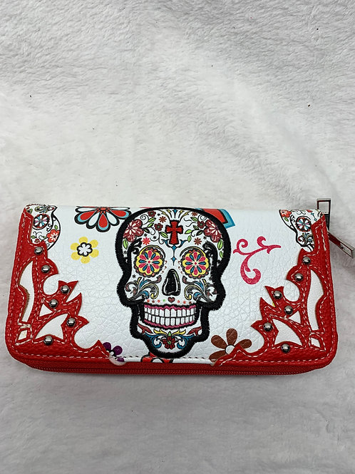 Wallet -Sugar Skulls - Red
