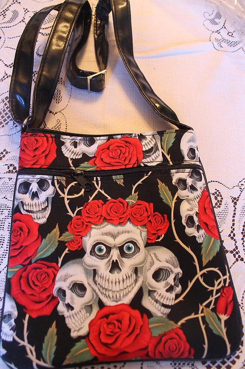 Cross Body Bag Skulls and Roses Tattoo