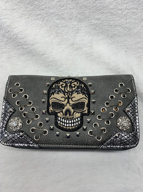 Wallet -Sugar Skulls - Grey