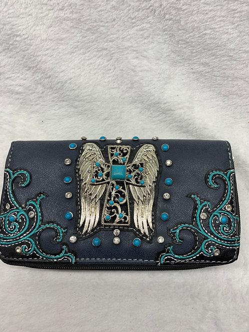 Wallet - Cross with Angel Wings - Black