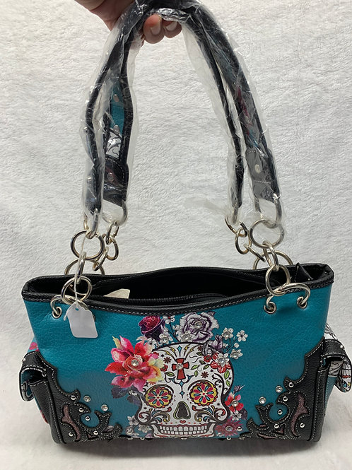 Sugar Skull Shoulder Handbag Teal