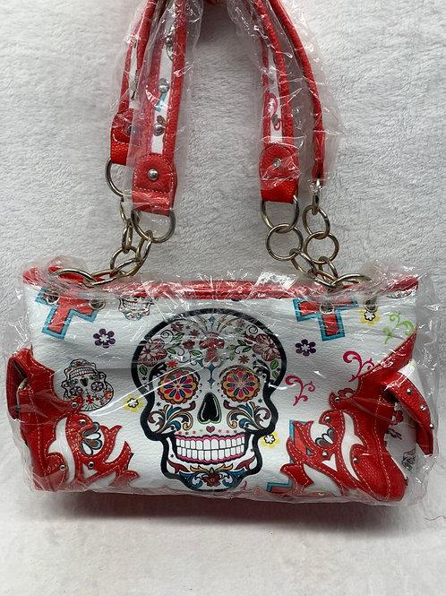 Sugar Skull Shoulder Handbag Red
