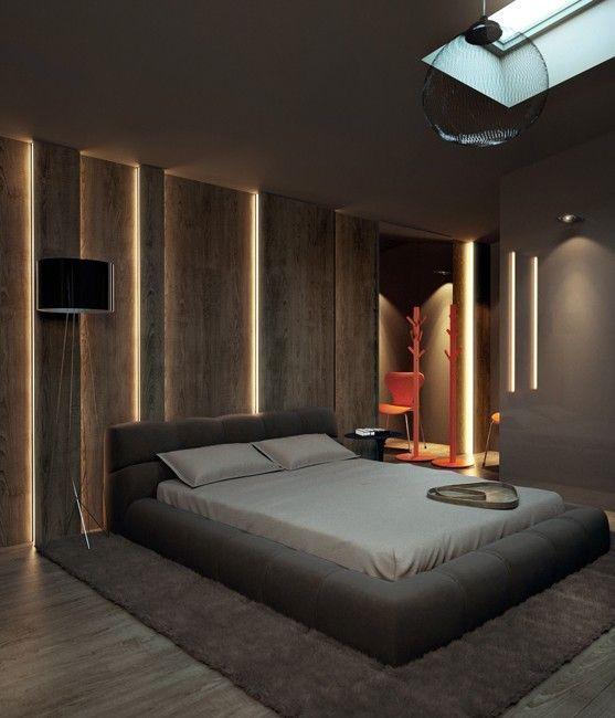 Ruskeassa makuuhuoneessa on yhdistelty eri ruskean sävyjä toisiinsa ja käytetty eri tekstuureja.