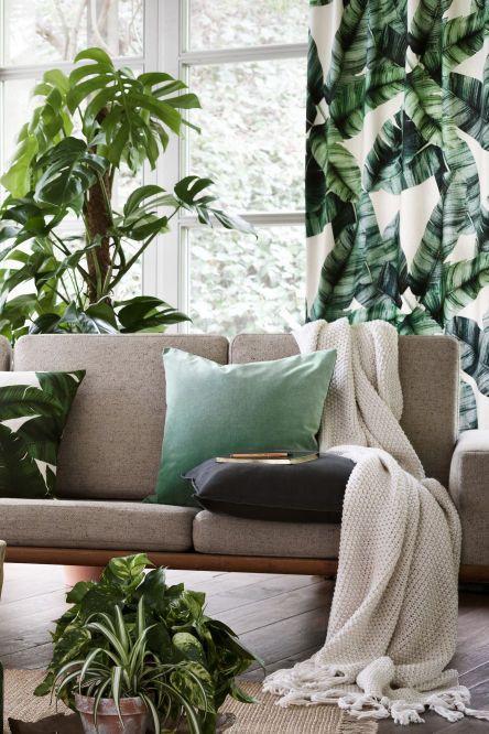 Ikkunasta näkyy vihreitä puita ja verhot on valittu maisemaan sopiviksi. Vaaleissa verhoissa on isoja kuvia kasvin lehdistä ja ne sointuvat hienosti myös huoneessa oleviin viherkasveihin.