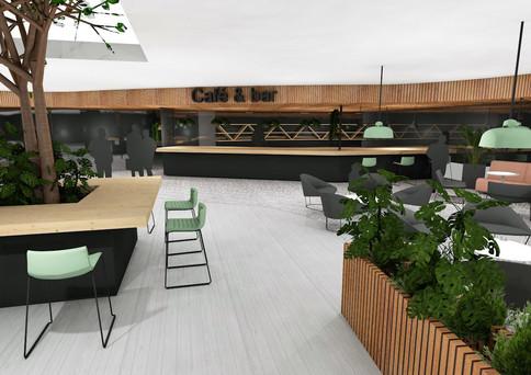 Microteknian kampuksen aulatila muotoilun opiskelijoille