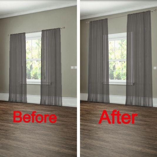 Saman ikkunan verhot on asennettu sekä oikein että väärin. Ensimmäisessä kuvassa verhot on sijoitettu ikkunan yläreunaan kiinni ja toisessa kuvassa reilusti ikkunan yläpuolelle.