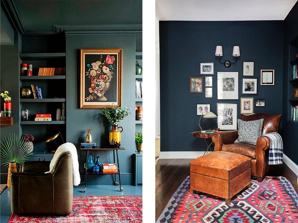 Vasemmanpuoleisessa kuvassa sekä katto, seinät että lattia on tummanvihreällä maalattu. Näiden rajapinnat hämärtyvät ja huone näyttää korkeammalta. Oikeanpuoleisessa kuvassa katto onkin maalattu valkoisella, jolloin huone näyttää matalammalta mitä onkaan.