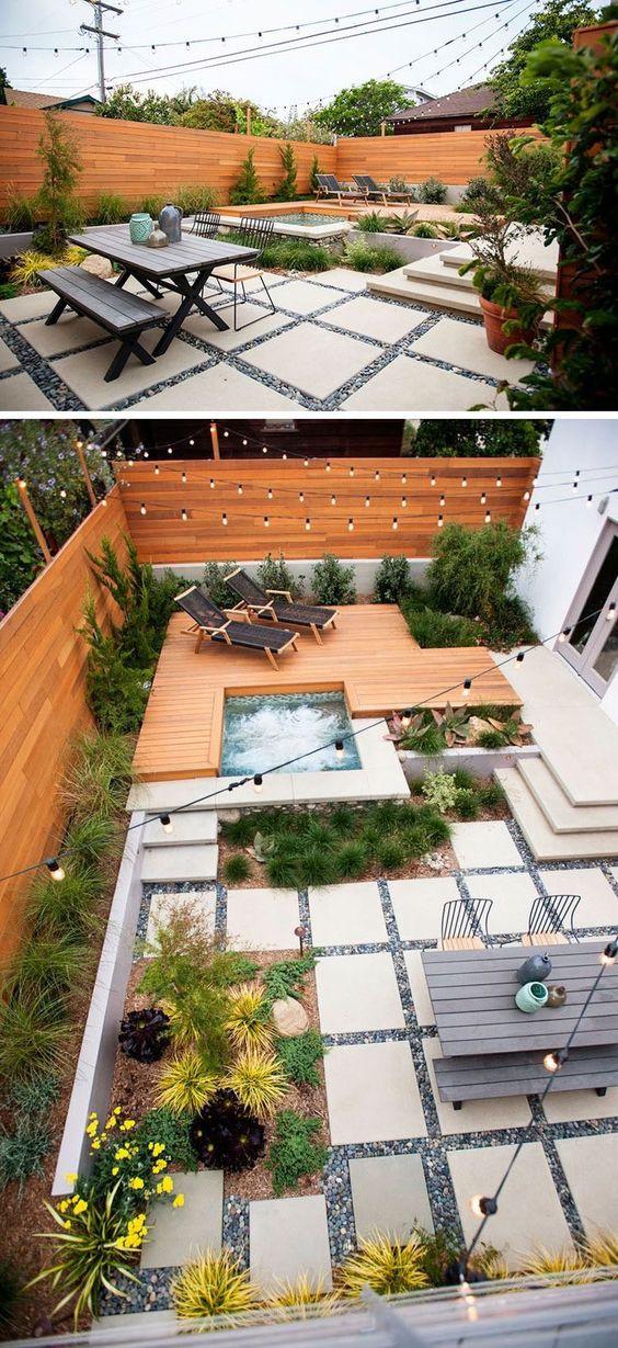 Terassi on jaettu kahteen eri tasoon. Ylemmäs on rakennettu puinen patio, joka myötäilee kasvialueita ja poreallasta. Alemmas laskeudutaan betonisia portaita ja alapiha on isoista betonilaatoista tehty, joiden väleihin on asetettu pikkukiviä.