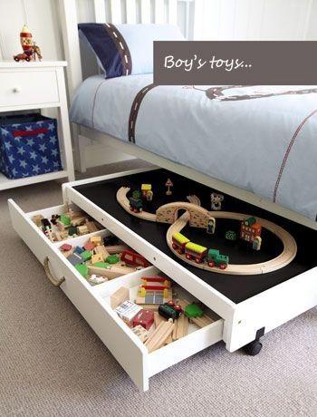 Sängyn alus laatikon päällä voi leikkiä ja leikin jälkeen lelut laittaa laatikkoon.
