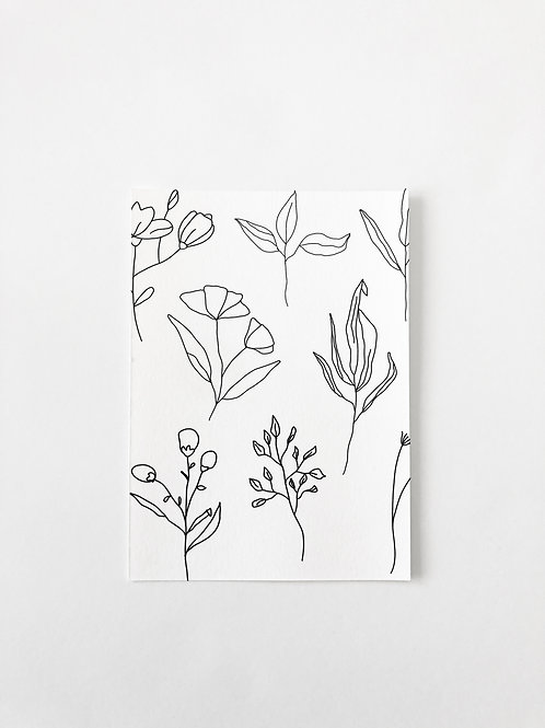 LINE ART FLORAL GREETING CARD