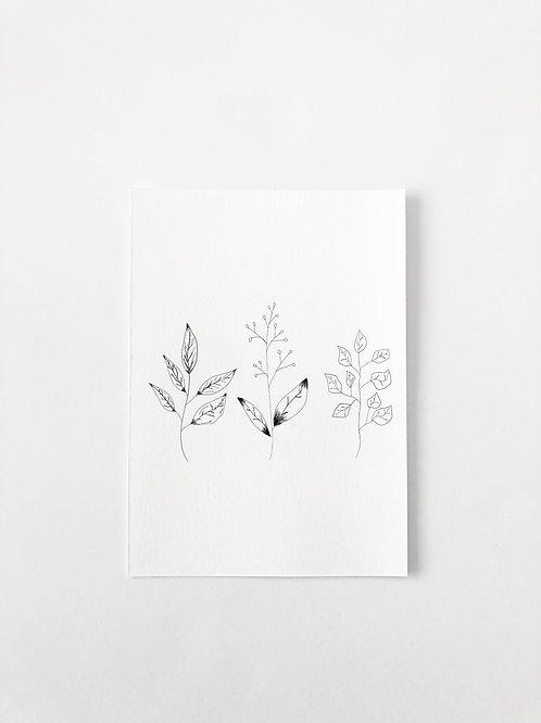 LINE ART LEAVES GREETING CARD