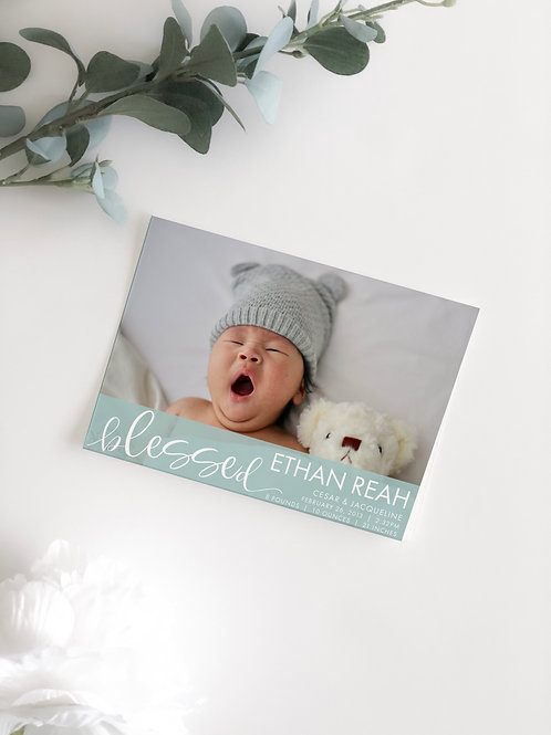 BLESSED BABY PHOTO ANNOUNCEMENT