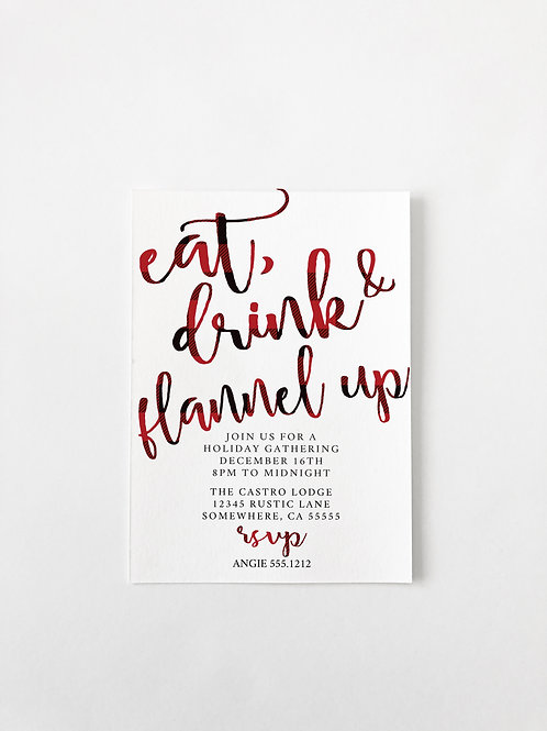 BUFFALO EAT DRINK AND FLANNEL HOLIDAY  INVITE