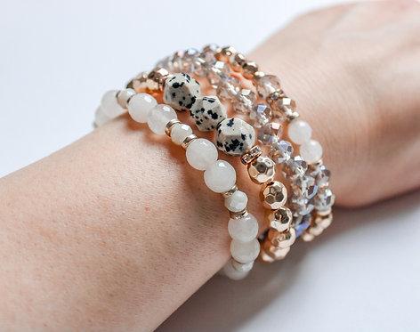 Multi Strand Beaded Bracelet - Dalmatian