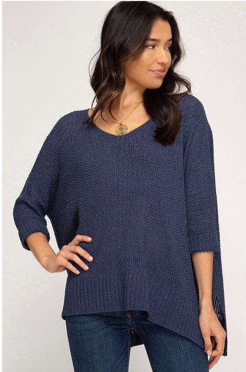 Leslie Sweater Top (Dusty Blue)
