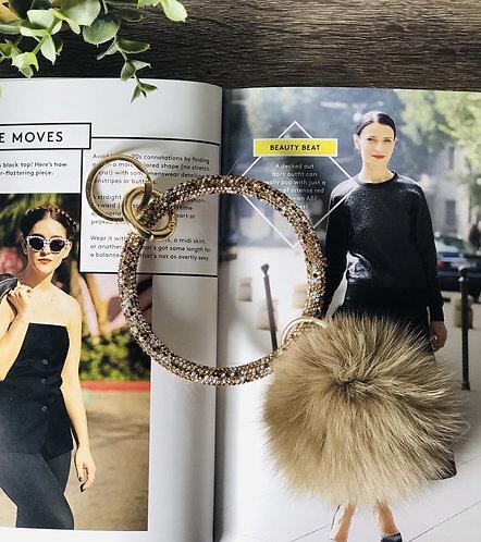 Crystal O-Ring Keychain with Faux Fur Pom (Tan)