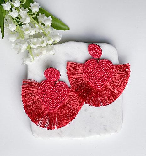 Heart Fringe Earrings