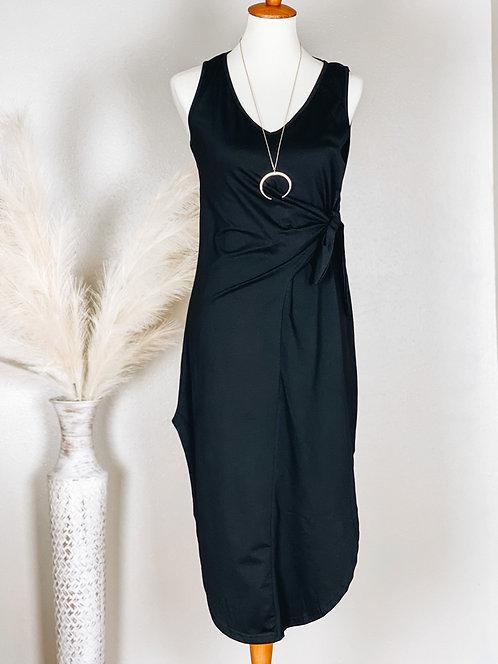 Bailey V-neck Midi Dress with Side Tie (Black)