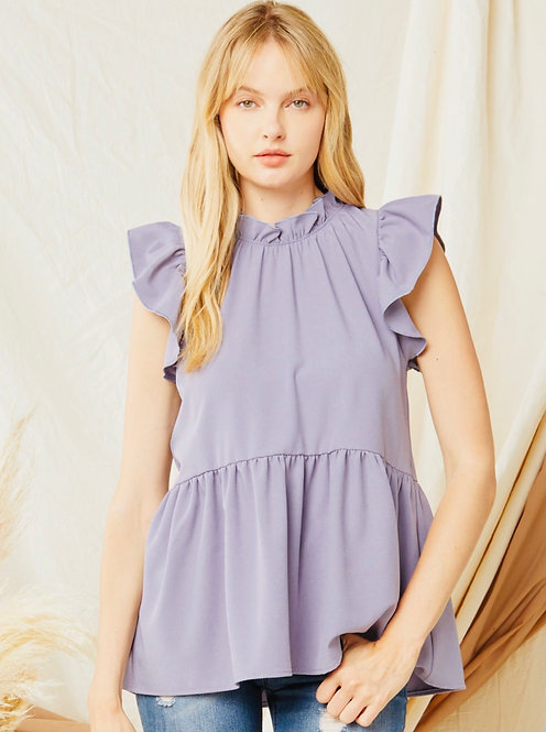 Mila Mock Neck Top with Ruffle Detail