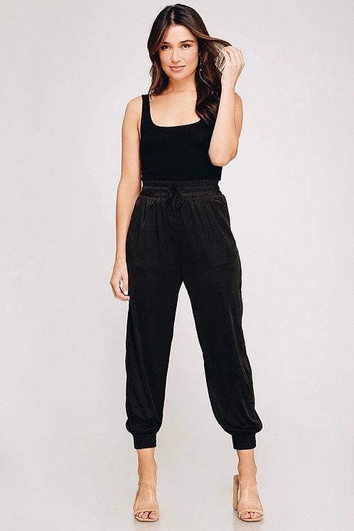 Misha Satin Jogger Pants (Black)