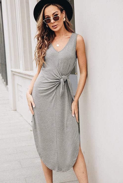 Bailey V-neck Midi Dress with Side Tie (Grey)