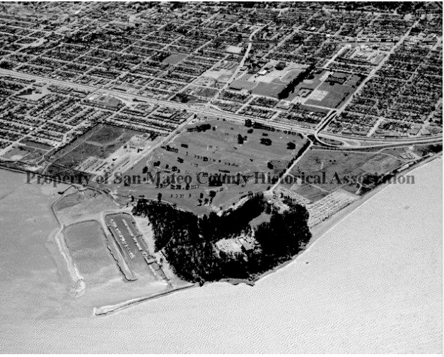 Aerial view of old CSM campus, c. 1962, with the marina on the left. Note that the current clubhouse hasn't yet been erected. Photo: SM County Historical Association