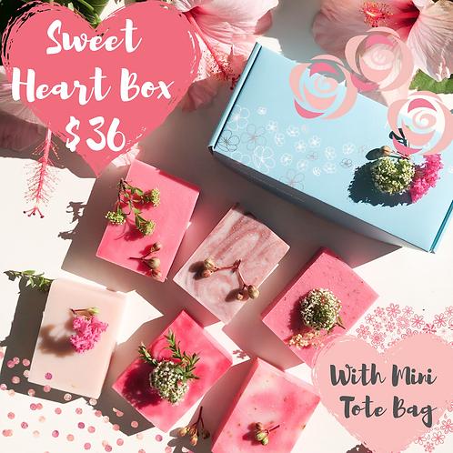 Sweet Heart Gift Soap Box (Set of 6 Natural Handade Soaps)