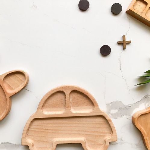 Kids Wooden Plate Set (3 Different Shapes)