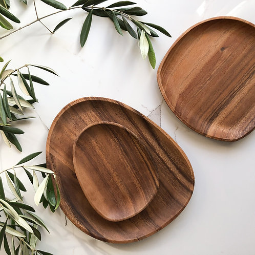 2 Sets of Acacia Wooden Plate Set (3 pieces)