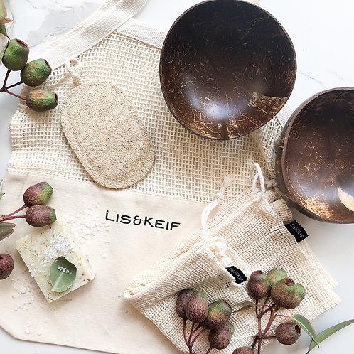 Sustainable Spring Bag (Coconut bowls, loofah sponge, soaps)